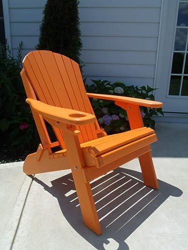 Furniture Barn USA Premium Folding Adirondack Chair w Cup Holder – Poly Lumber – Orange