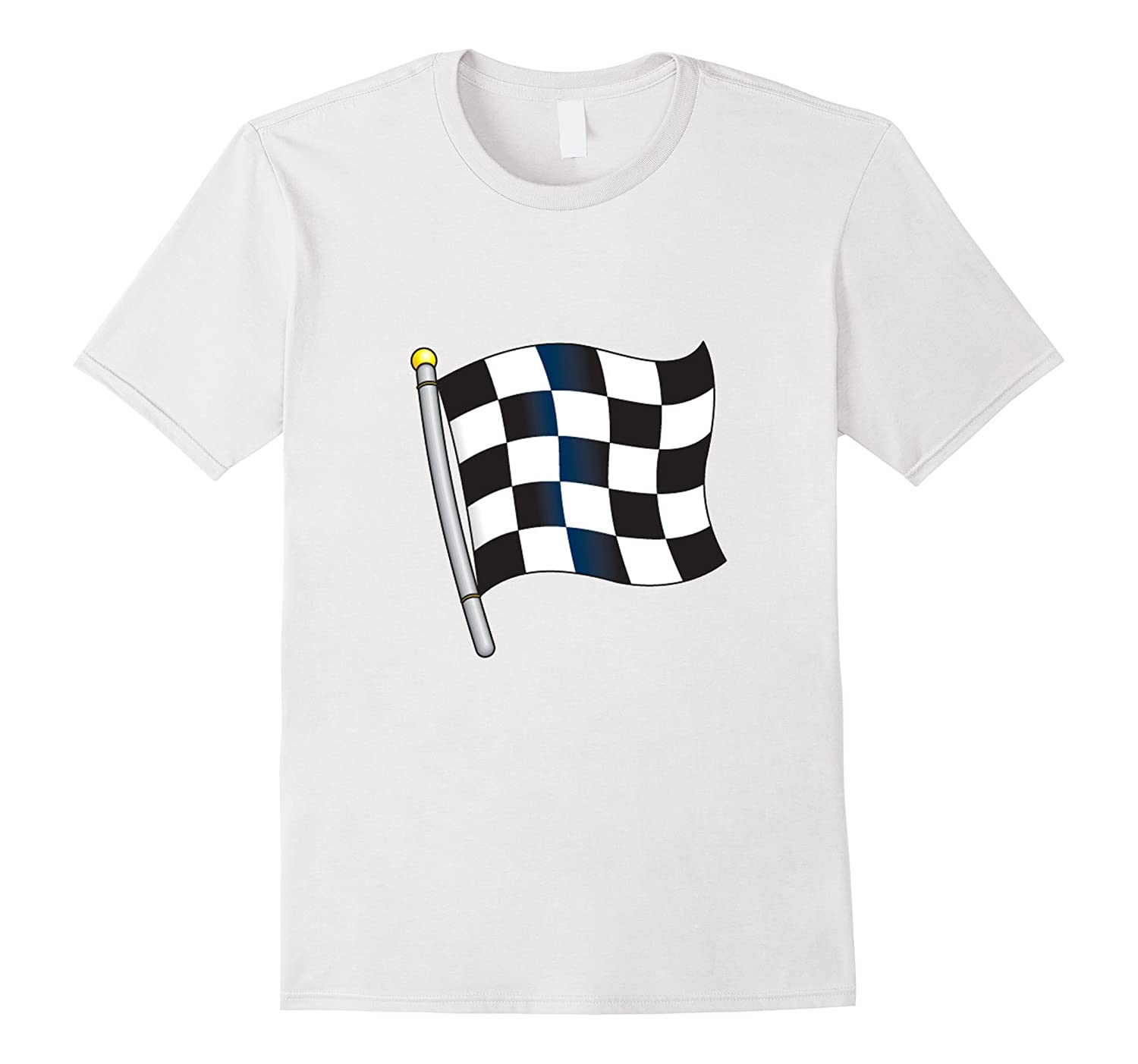 Checkered Flag Emoji T Shirt Race Car Flag Pole Goatstee