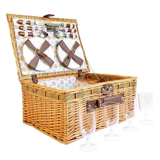 Florencia cesta de picnic de 4 personas cesta de mimbre de ...