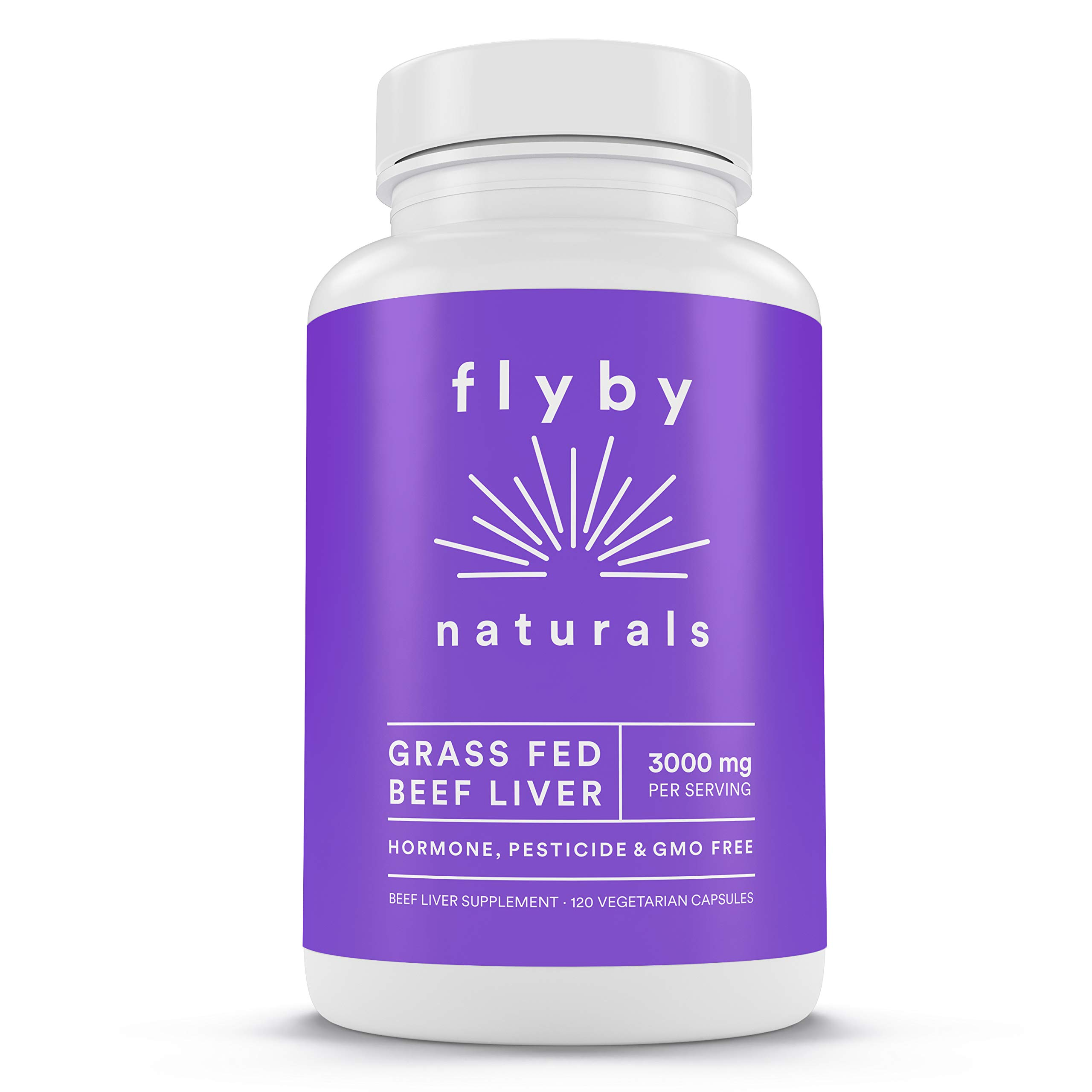 Grass Fed Beef Liver (120 Capsules - 3000 mg) - Iron, Vitamin A, Amino Acids, Protein, B12 Tablets for Energy & Healthy Skin - Argentine Raised Cows & NO Hormones, Antibiotics, Chemicals, GMOs - Flyby by FLYBY