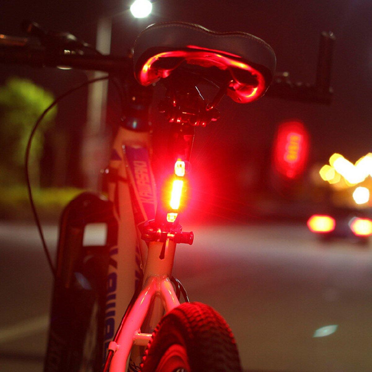 Alftek USB port/átil recargable de la cola de la bici posterior de la seguridad de advertencia trasera l/ámpara de luz super brillante