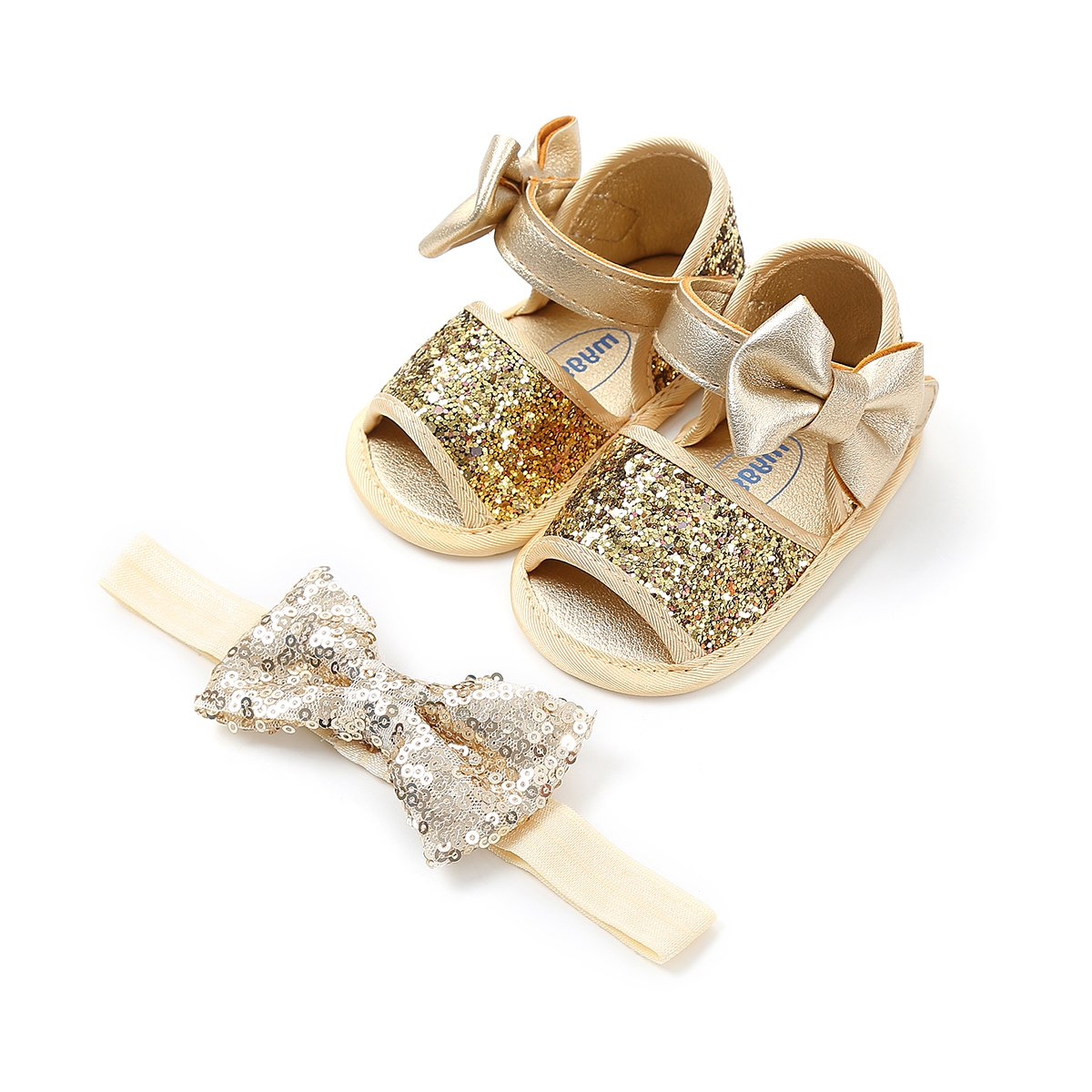 Isbasic Baby Girls Summer Sandals Pu Leather Rubber Sole Antiskid First Walking Shoes (6-12 Months, 1820-gold)