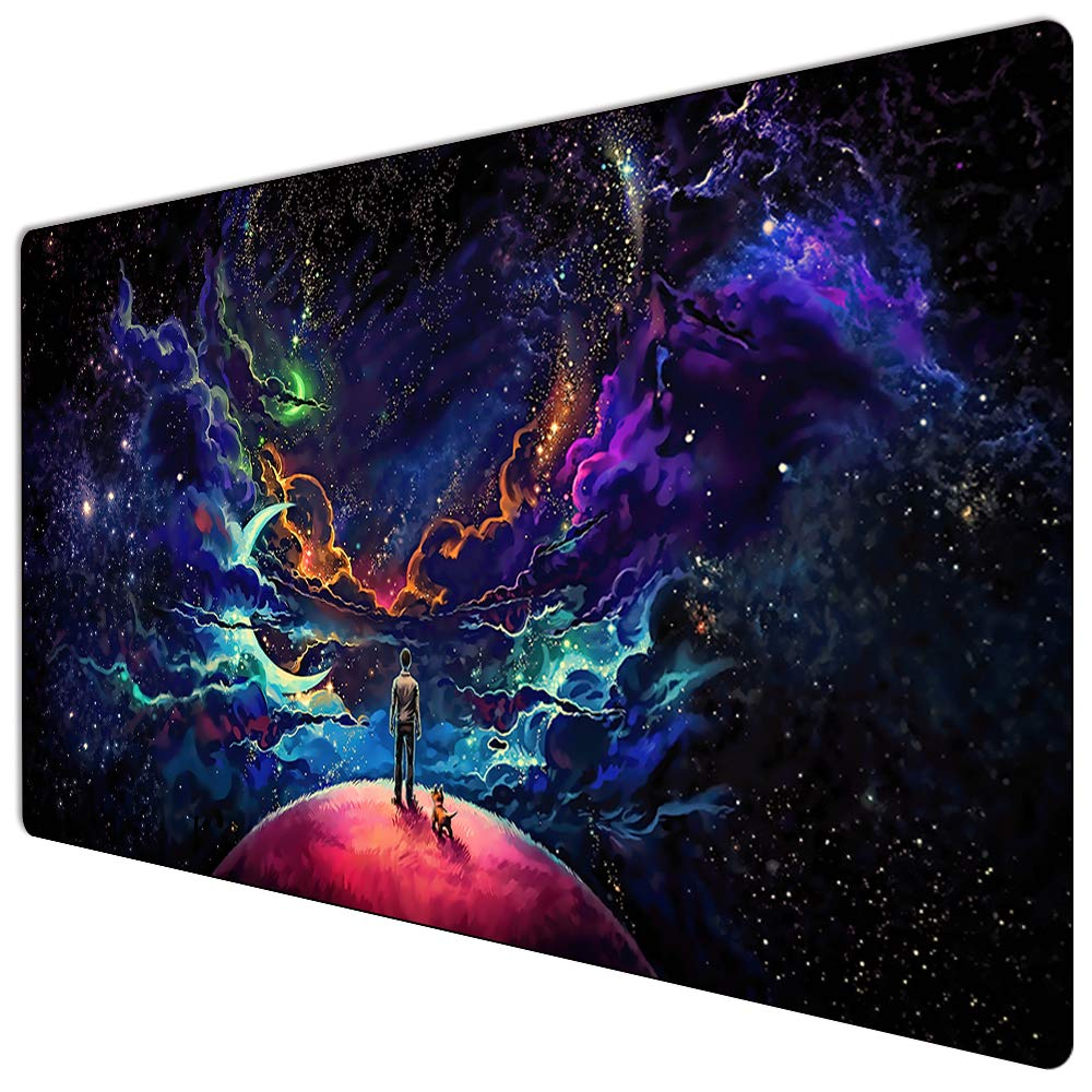 Extended Gaming Mouse Pad Custom Design Computer Gaming Mouse Mat with Smooth Surface XXL Large Size Desk Pad with Non-Slip Rubber Base Ideal for Keyboard, PC and Laptop (90X40 Little dogY11) by YANNUN