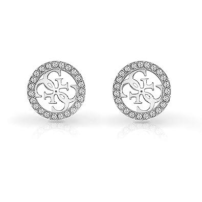 Guess Damen Ohrstecker Edelstahl 46 Kristall One Size Silber