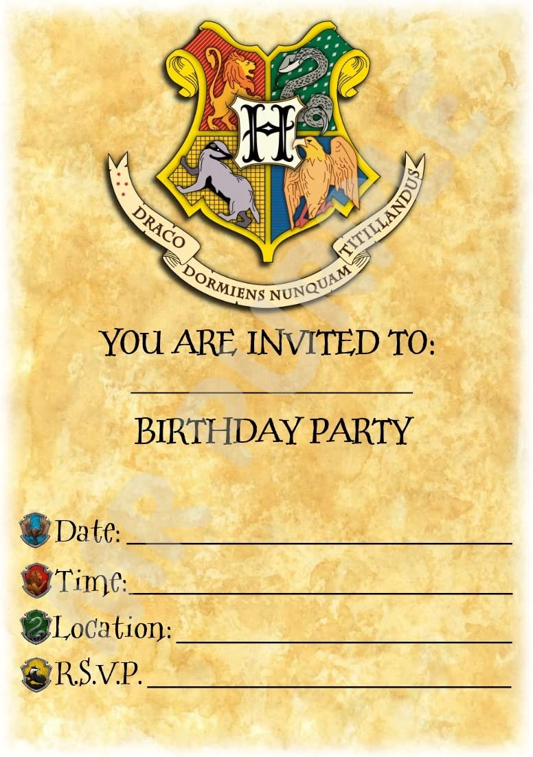 Harry Potter Birthday – invitaciones para fiestas – Hogwarts Crest ...