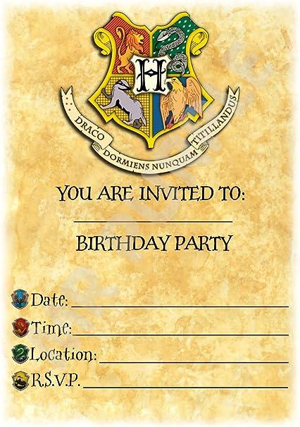 Lot De 12 Cartes D Invitation Pour Fete D Anniversaire Thematique Harry Potter Embleme De Poudlard Format A5 Without Envelopes Amazon Fr Fournitures De Bureau