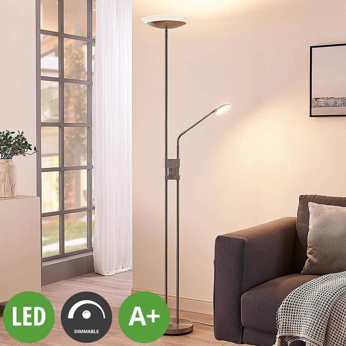 Lampenwelt LED Stehlampe 'Jonne' dimmbar (Modern) in Alu aus Metall u.a. für Wohnzimmer & Esszimmer (2 flammig, A+, inkl. Leuchtmittel) | Wohnzimmerlampe, Stehleuchte, Floor Lamp, Deckenfluter