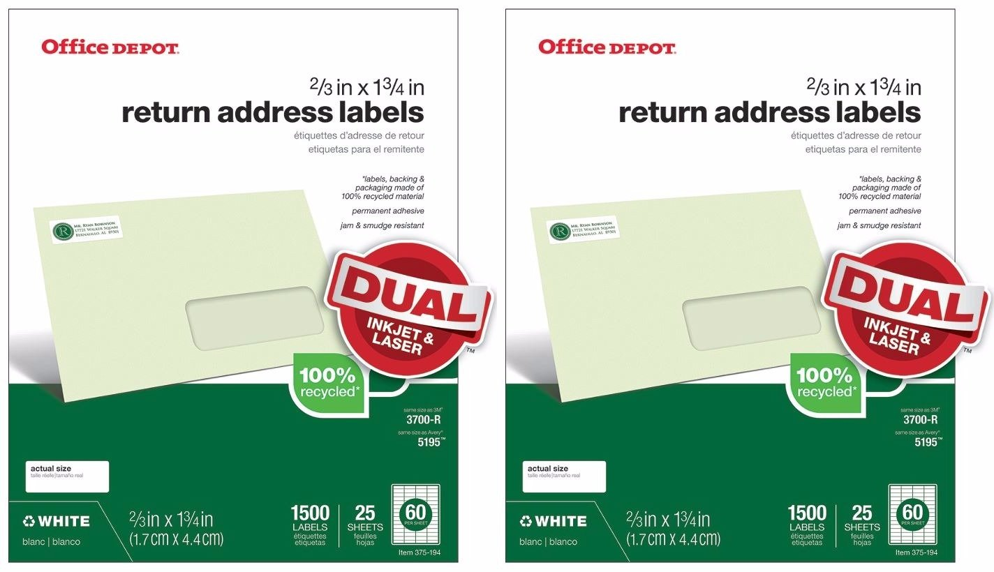 Amazon com office depot tm return address labels for laser and inkjet printers white 2 3 x 1 3 4 60 up 50 sheets 3000 labels office products