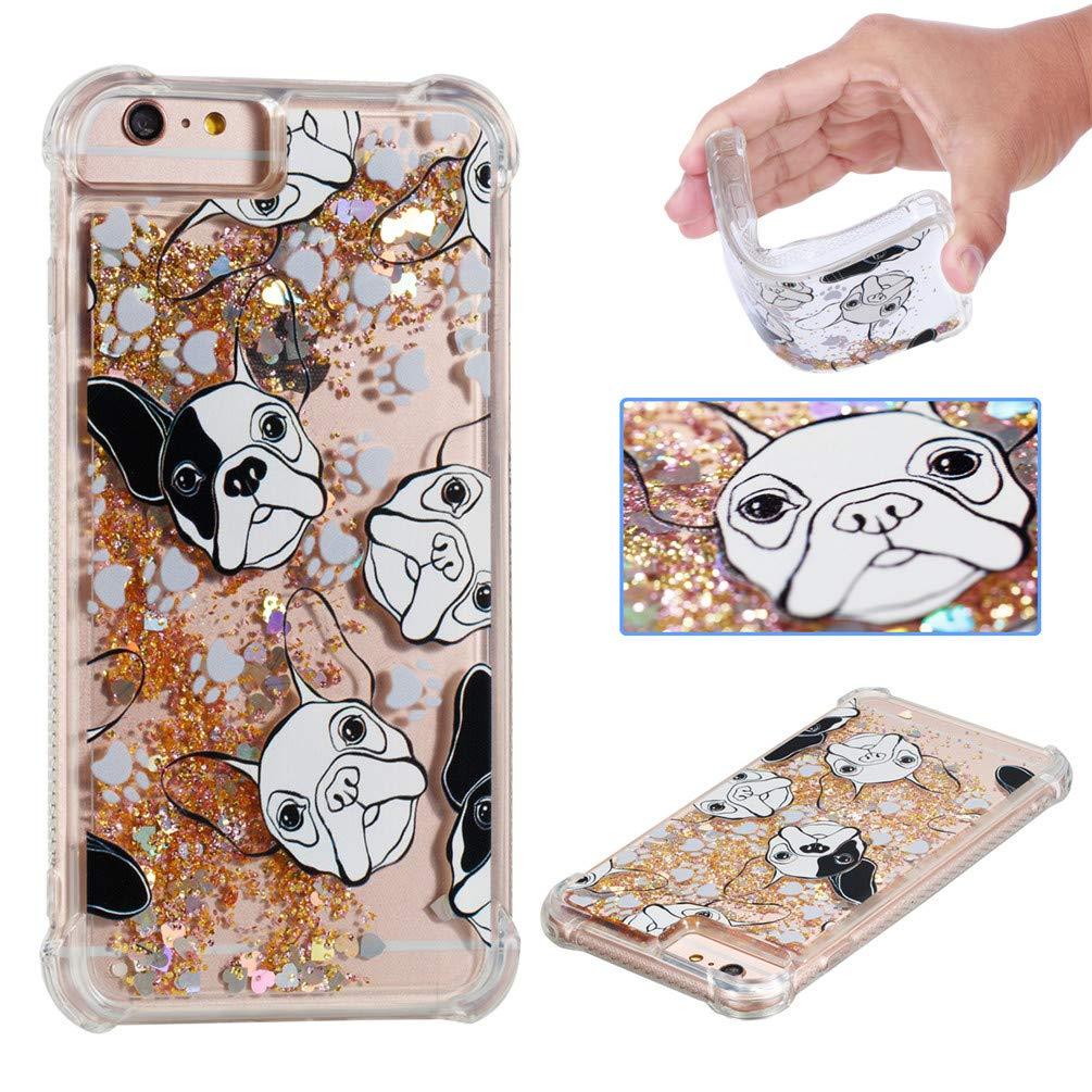 EMAXELER iPhone 6S PlusケースiPhone 7 Plusカバー3Dクリエイティブパターンアンチフォールディングプロテクション流砂浮遊キラキラ輝く液体TPUソフトケースiPhone 6S Plus TPU牛   B07J5XKYC4