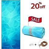 "Yoga Towel 72"" x 26"" - Microfiber Hot Yoga Mat Towels, Soft, Ultra Absorbent, Skidless Non-Slip, Elastic Strap Corner Design for Bikram, Fitness Exercise + Yoga Meditation 108 Prayer Beads"