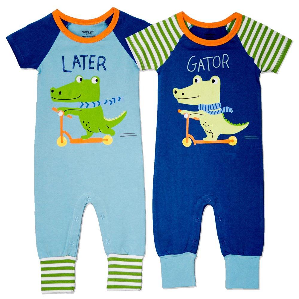 Later Gator Twin Boys Romper Set