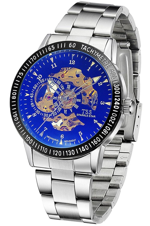 TSS Herren 's Colorful Zifferblatt Golden Hand silber Band Skelett View Automatische Armbanduhr