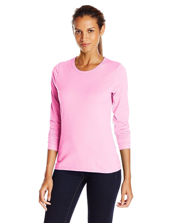 Hanes Women's Long-Sleeve Crewneck T-Shirt_Pink Swish_Medium_Pink Swish_Medium