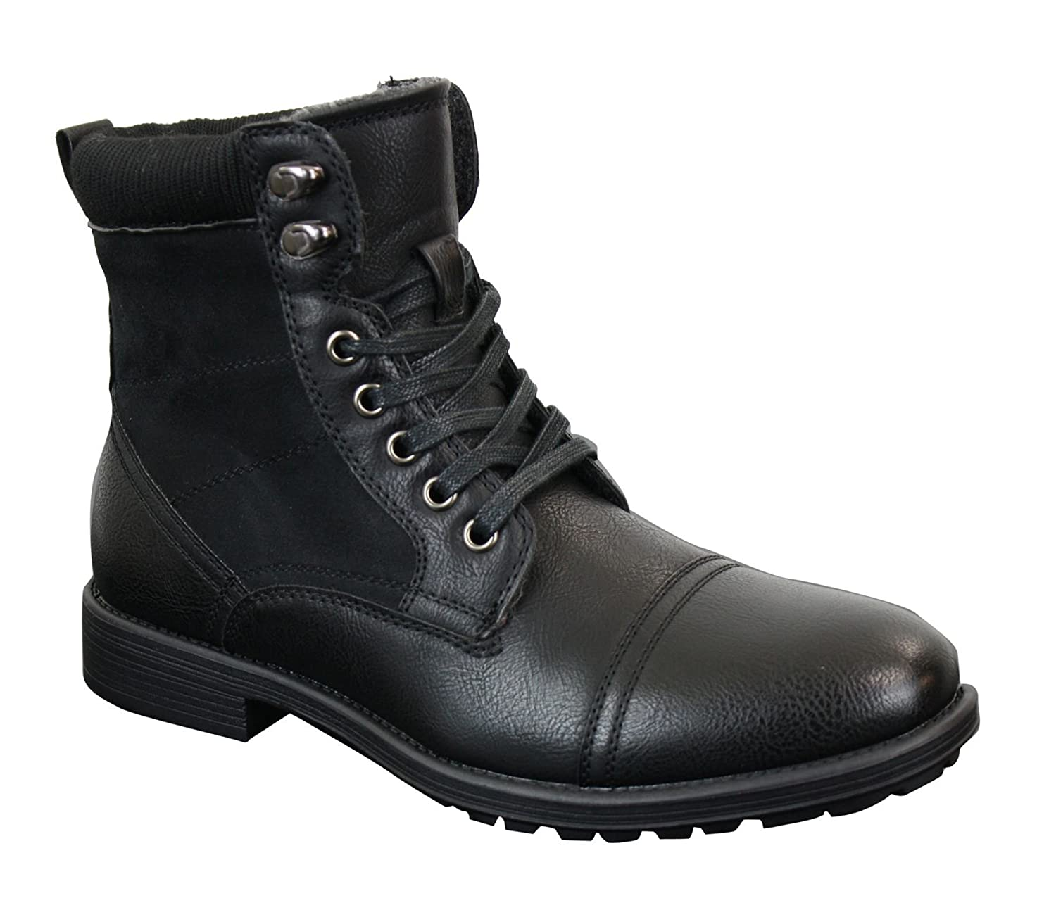 8e3d590d3e9 Mens Leather Suede PU Fleece Army Combat Military Ankle Boots Black Brown  Retro