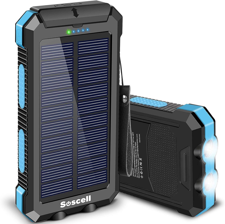 Solar Power Bank 30000mAh, Suscell Portable Phone Blue-30,000mAh