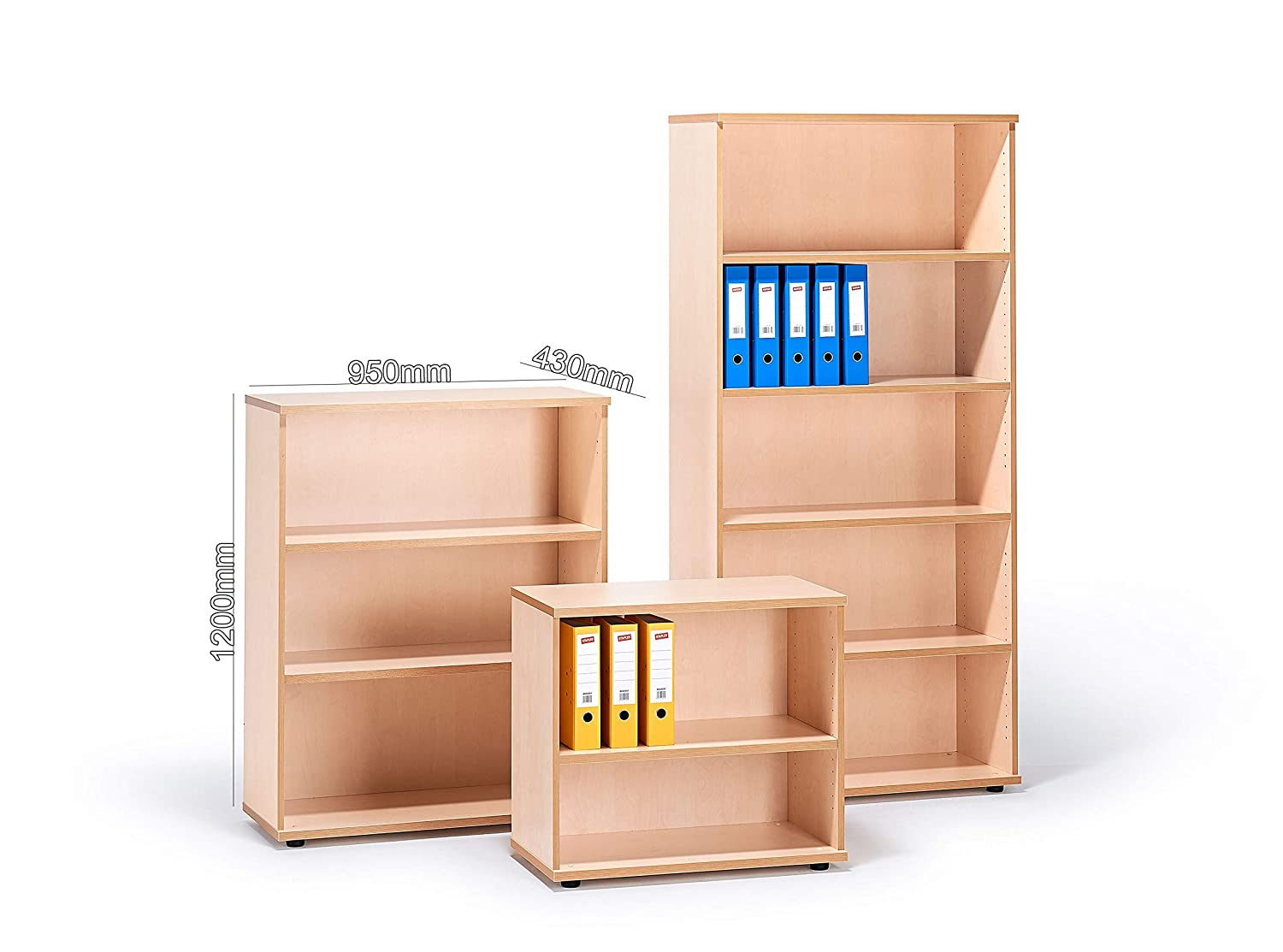 Maple H1200mm x W950mm x D430mm Maple Office Bookcases
