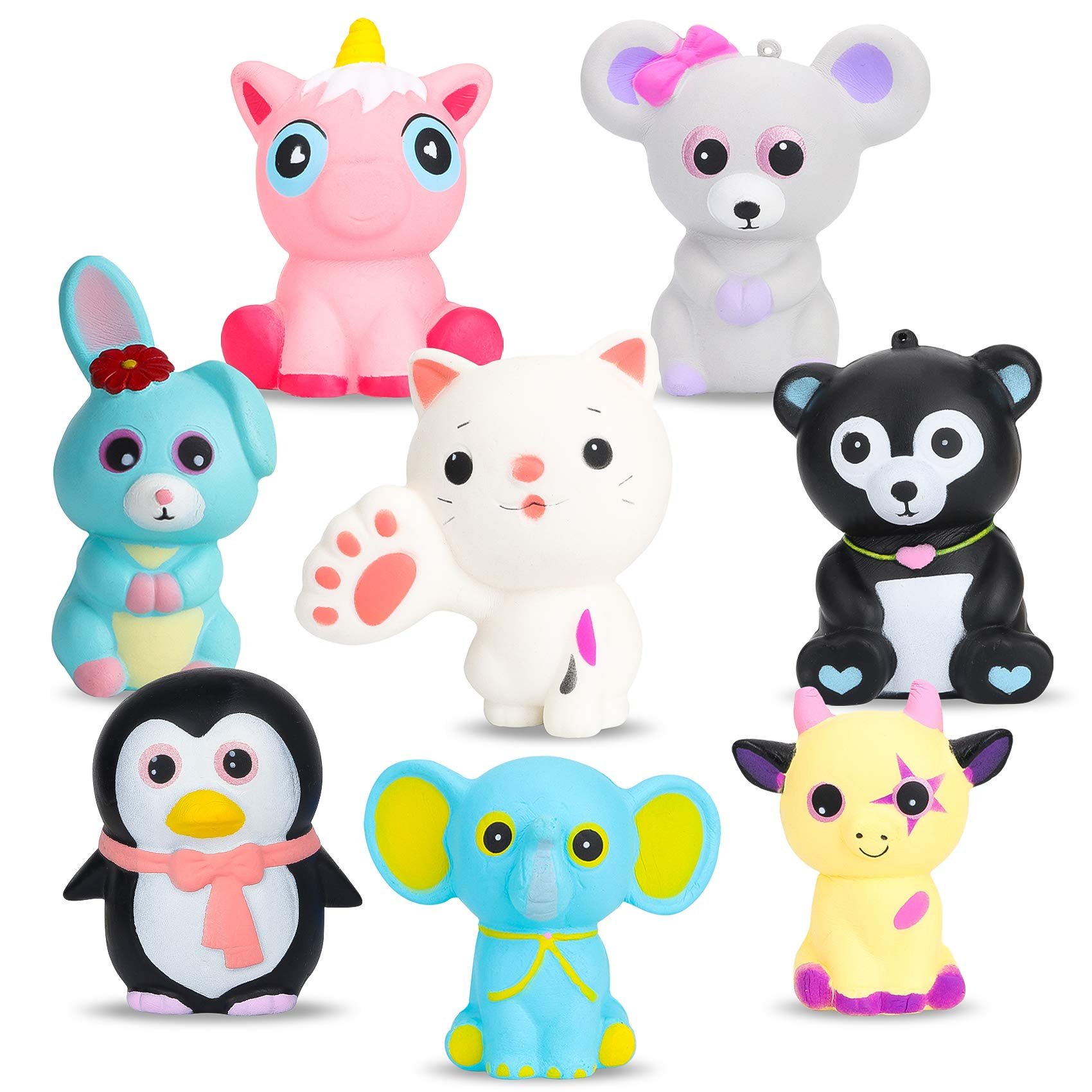 BeYumi Slow Rising Squishy, 8 PCS Colorful Animal Squishy Toys, Kawaii Mouse + Black Bear + Pink Unicorn + Elephant + Rabbit + Cow + Penguin + Cat Cream Scented Simulation Cute Animals Toys