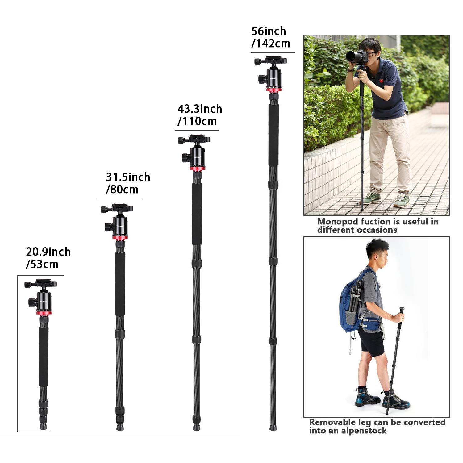 Neewer Camera Tripod Monopod Carbon Fiber with Rotatable Center Column - Portable Lightweight, 75 inches/191 Centimeters, 360 Degree Ball Head for DSLR Camera Camcorder up to 26.5 pounds by Neewer (Image #6)