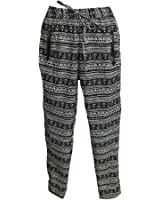 Women's Bowknot Baggy Harem Pants Black & White Abstract Print Skinny Trousers