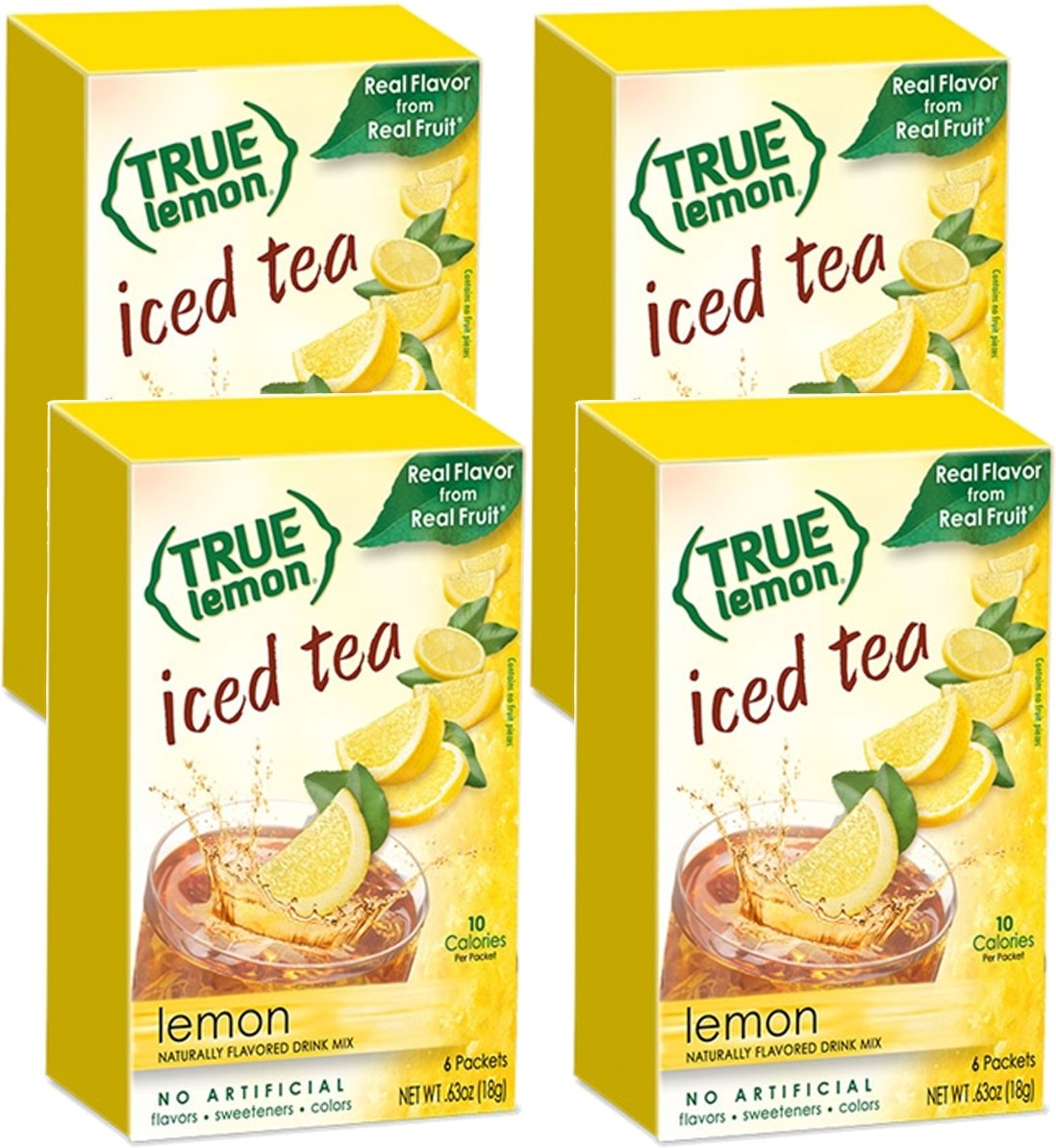 LEMON ICED TEA MIX by TRUE LEMON   Instant Powdered Drink Packets That Quench YOUR Thirst, Kit Includes 4 Boxes, 24ct of Mouth Watering True Citrus LEMON (ICED TEA)