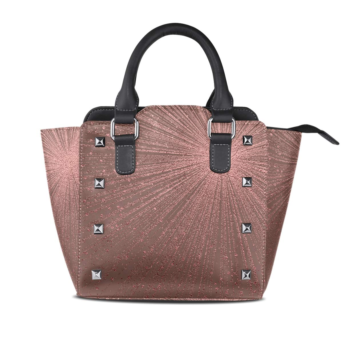 Design3 Handbag bluee color Genuine Leather Tote Rivet Bag Shoulder Strap Top Handle Women