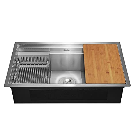 33 Inch Undermount Kitchen Sink Deluxe Stainless Steel Single Bowl Kitchen Sink With Built In Drain