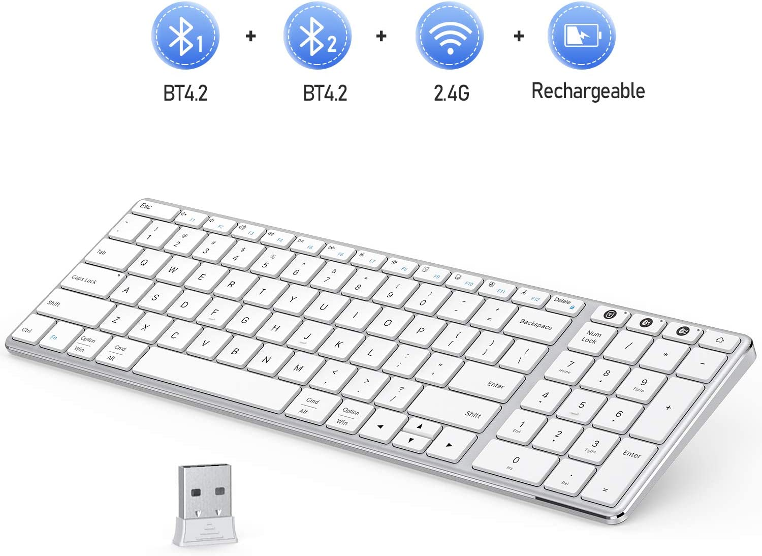 Multi-Device Bluetooth Keyboard, Jelly Comb Dual Mode Rechargeable 2.4G Wireless & Bluetooth Keyboard with Number Pad Switch to 3 Devices for PC Laptop Desktop Tablet Windows iOS Android-White Silver