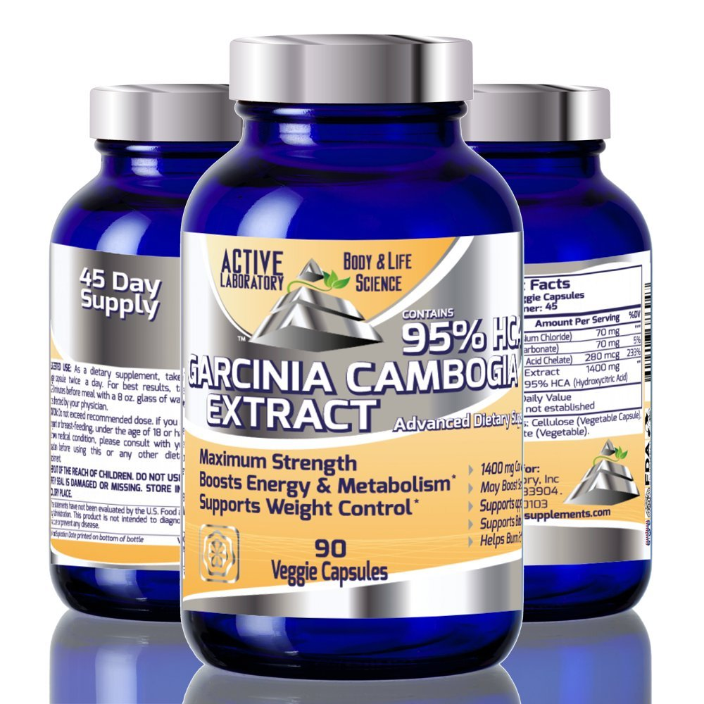 Garcinia Cambogia Extract 95% HCA - 1400mg of HCA per serving- #1 on AMZ -45 Day Supply - Most Effective Natural Weight Loss Supplement - Burn Fat - Carb Blocker - 100% Guaranteed By Active Laboratory