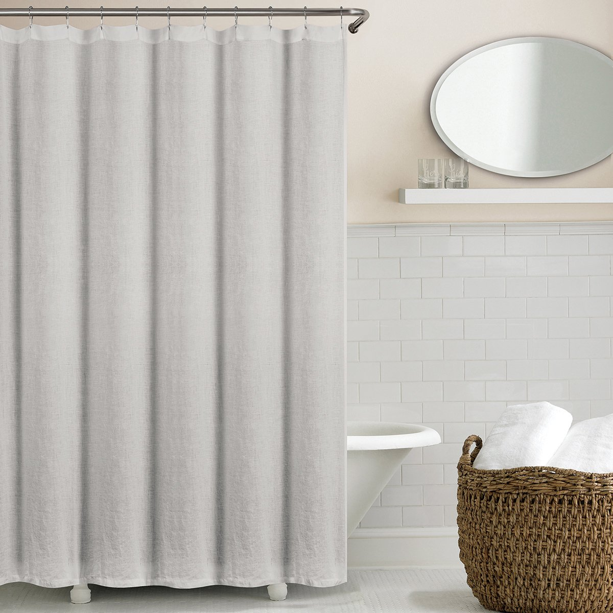 Echelon Home Washed Belgian Linen Shower Curtain, Silver