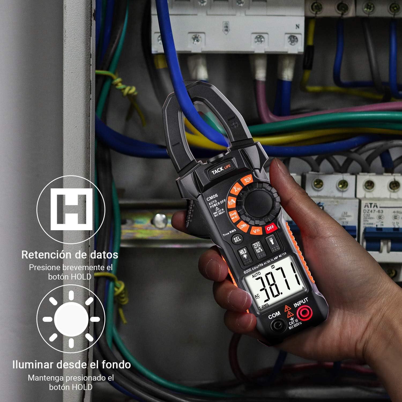 2020 AVANZADO 6000 Cuentas Pinza Amper/ímetro con NVC Pruebas de Rango Autom/ático CM06 El/éctrico Diodo Resistencia TACKLIFE Pinza Amperimetrica Corriente y Voltaje CA//CC