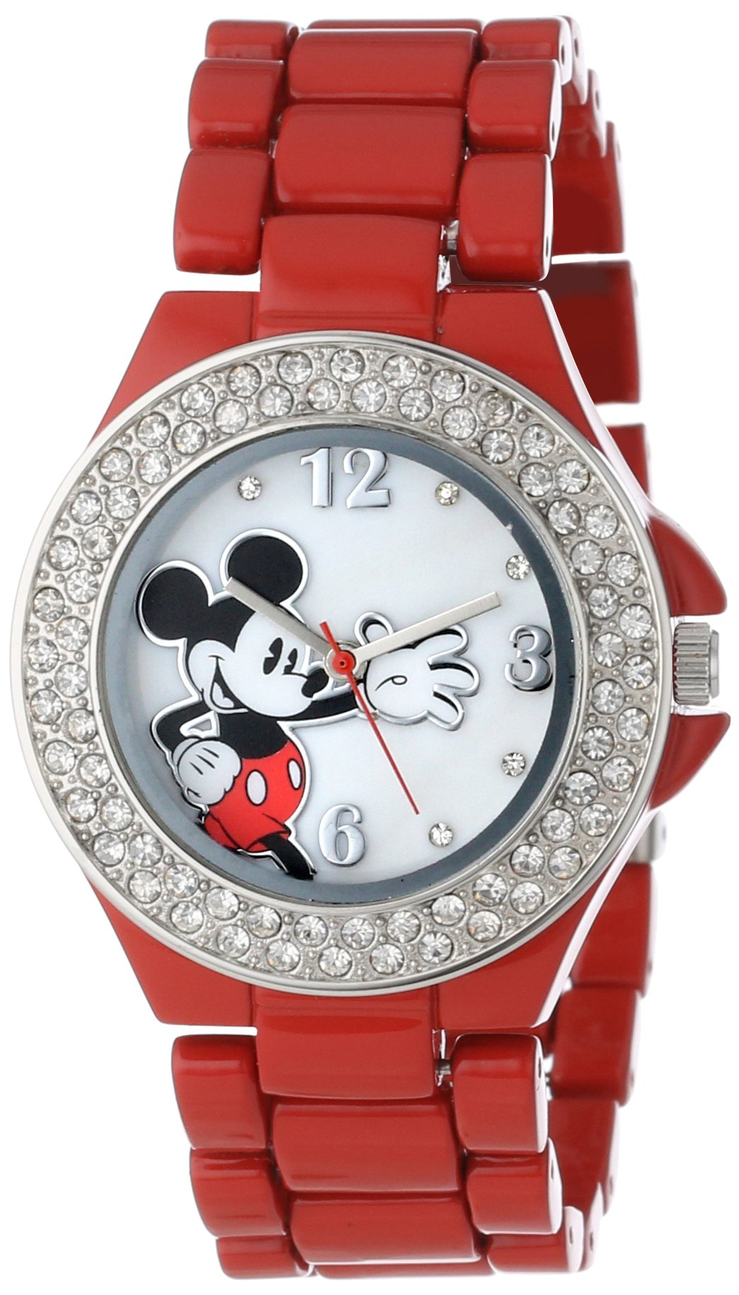 Disney Women's MK2071 Mickey Mouse Red Enamel Bracelet Watch