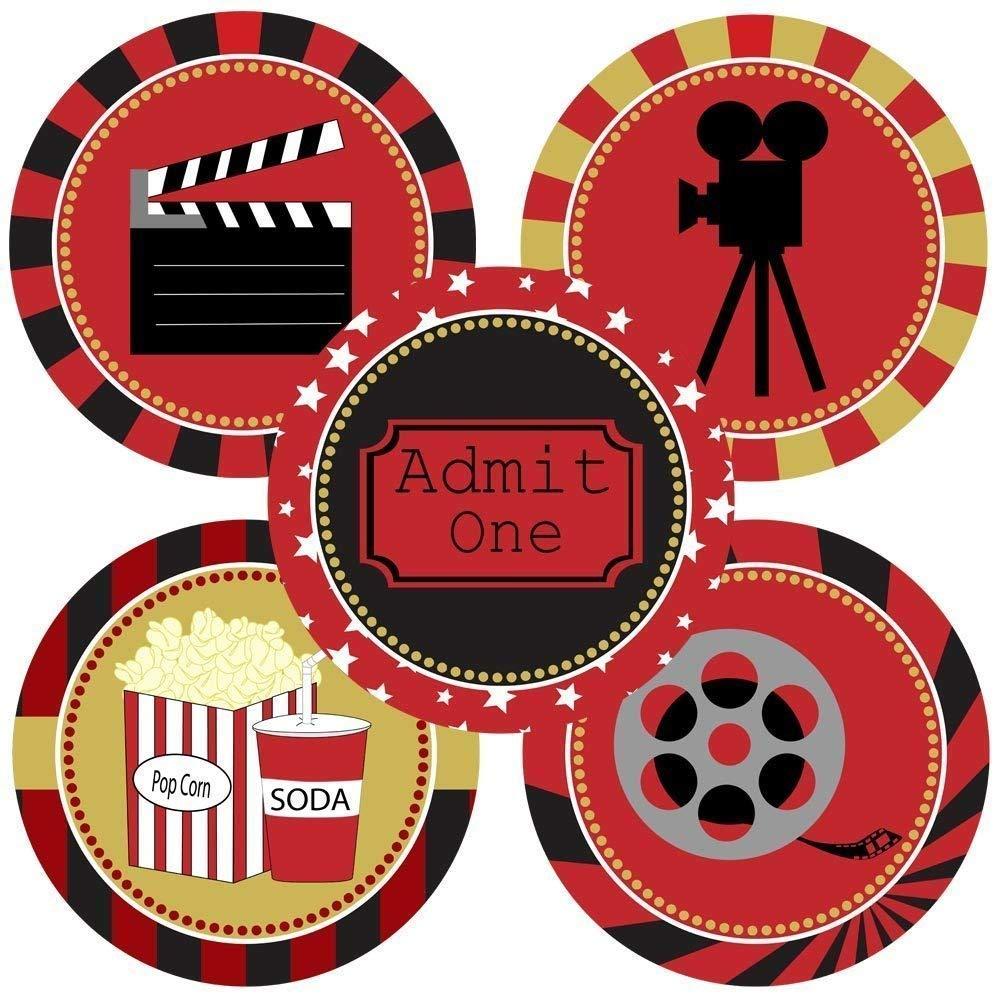Amazon Com Movie Night Sticker Labels Cinema Theater Party Supplies Decoration Set Of 50 Handmade