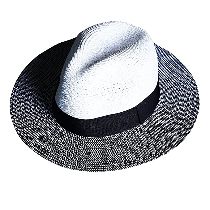 ByTheR Men s Dual Tone Panama Straw Mountain Fedora Summer Fashion Casual  Hat White c5cab3202d5f