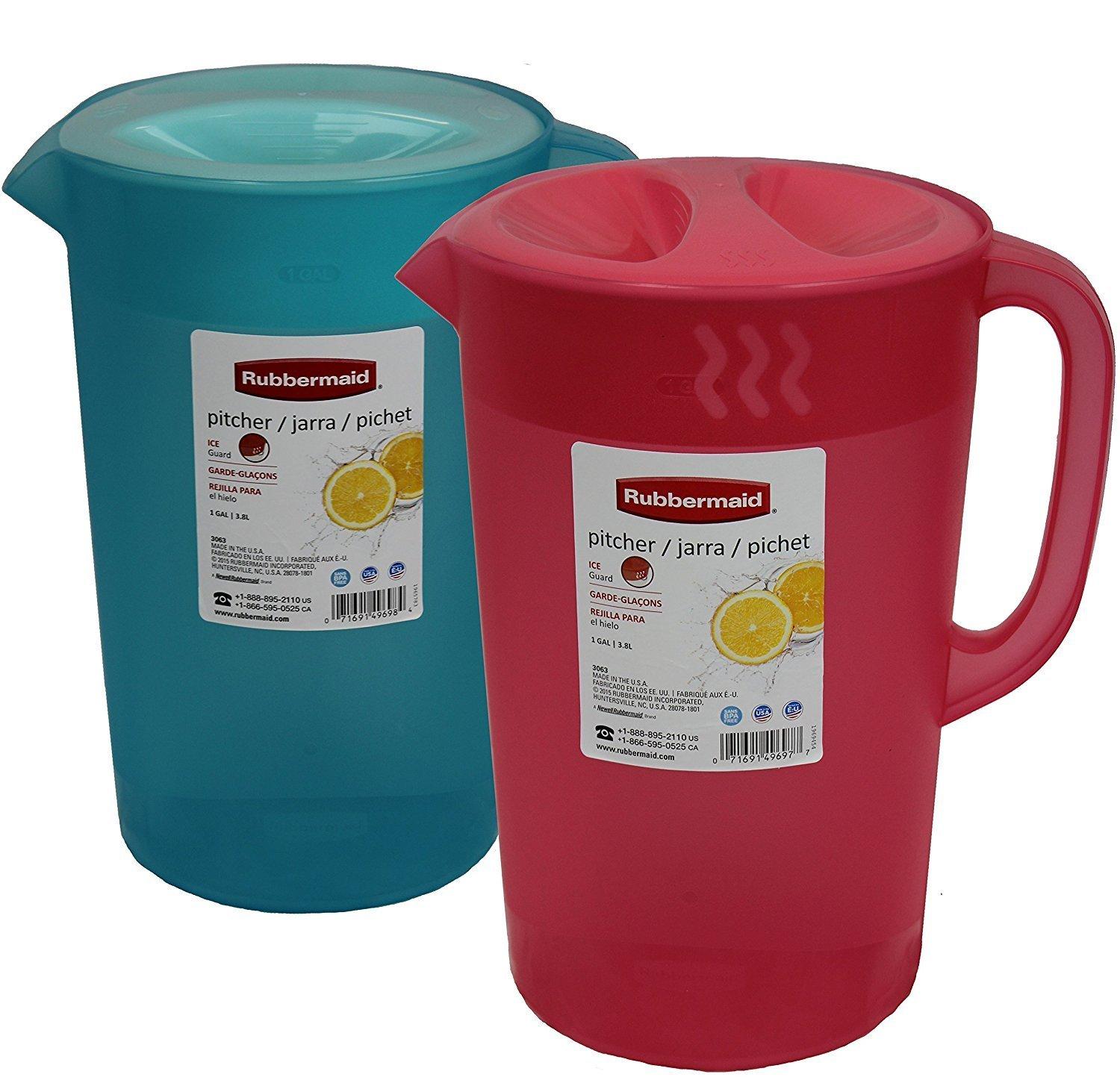 Rubermaid B01IDSBI9W Rubbermaid 2pk Classic Pitcher, Pack of 2 Colors, 1 Gallon, Red/Blue by Rubbermaid (Image #1)