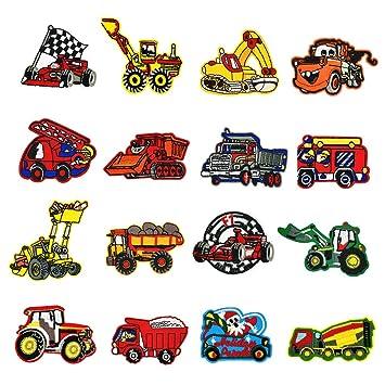 LAKIND Bügelbilder Kinder,16 Stück Auto Aufbügelflicken Bügelflicken Aufnäher Aufbügler Kinder Flicken Patches zum Aufbügeln Bügelpatches Applikation