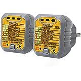 Tacklife EST02-2 Rilevatore di Presa di Corrente Tester per Circuiti Elettrici Misuratore di Polarità Tester Neutro e Terra 2 Pezzi