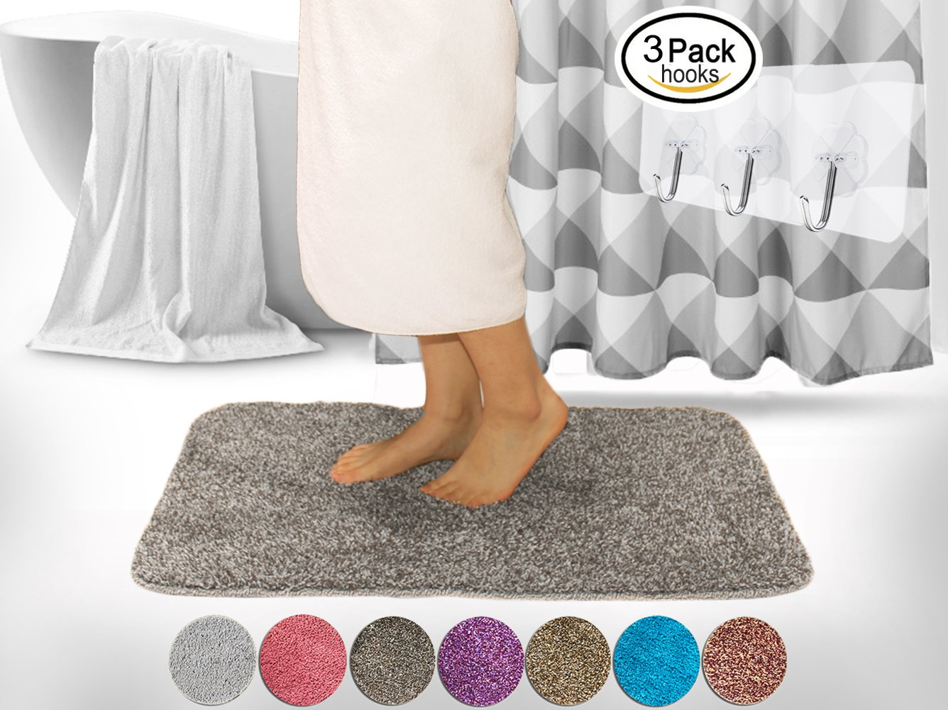 Yimobra Luxurious Bath Mat Absorbent Large XL 315 X 198 Inch Soft Non Slip Gray With
