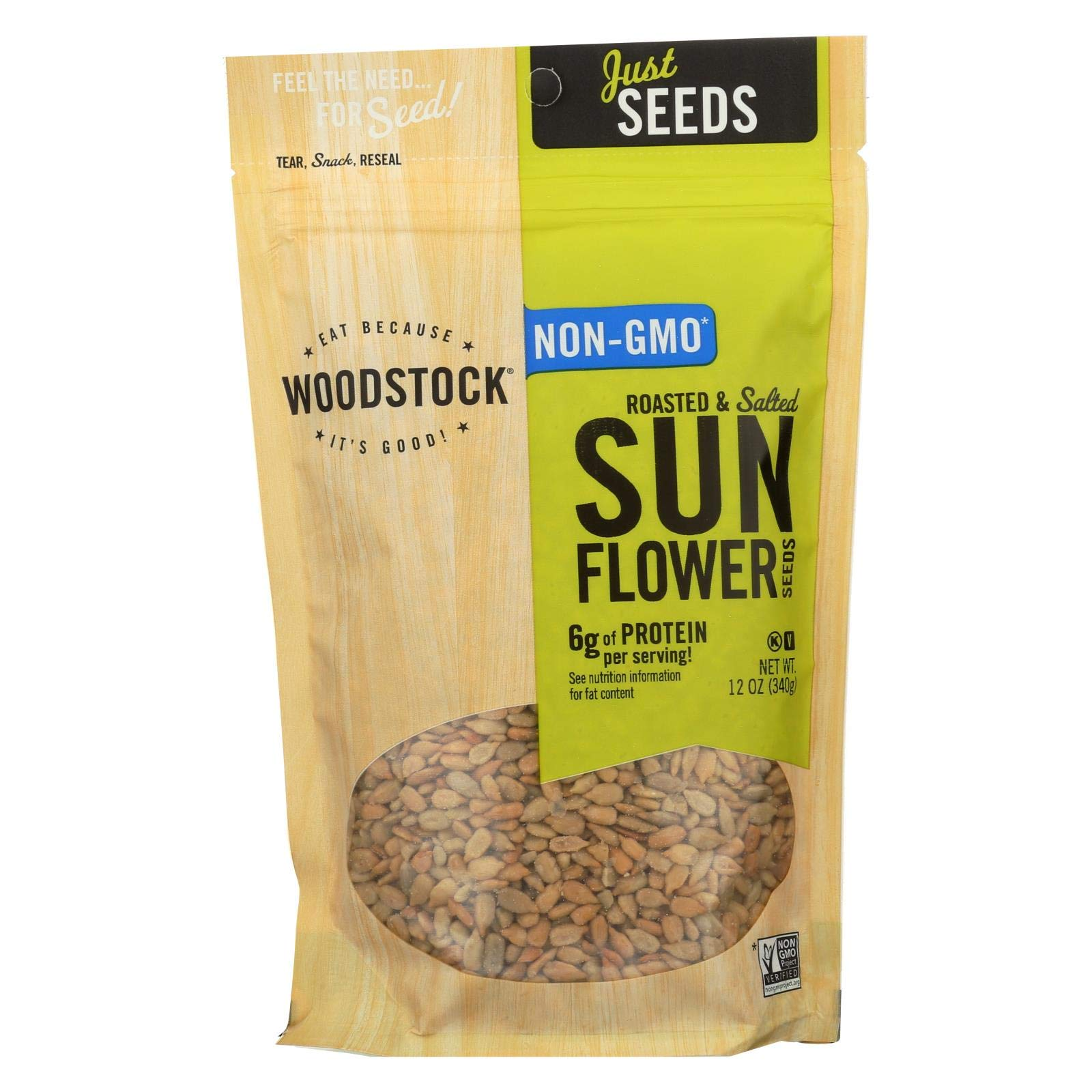 Woodstock - All Natural Sunflower Seeds - Shelled - Roasted and Salted - 12 oz - Case of 8 - Vegan - Non GMO by Woodstock
