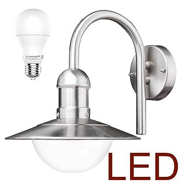 LED Wand Außenleuchte Mit U0026 LED Leuchtmittel   Edelstahl Außenlampe  Hoflampe Gartenlampe Gartenleuchte [Energieklasse
