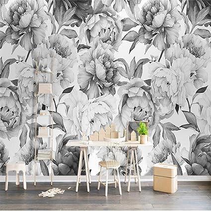 custom 3d mural wall black white peony flower watercolor 3dcustom 3d mural wall black white peony flower watercolor 3d wallpaper living room bedroom background home decoration fresco 350cmx256cm amazon com