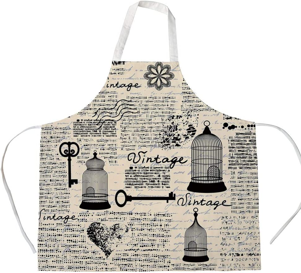 Amazon.com: Old Newspaper Decor 3D Printed Cotton Linen Apron,Grunge  Pattern with Bird Cages Keys Heart Shapes and Flower Decorative,for Cooking  Baking Gardening,Black Cream Baby Blue: Home & Kitchen