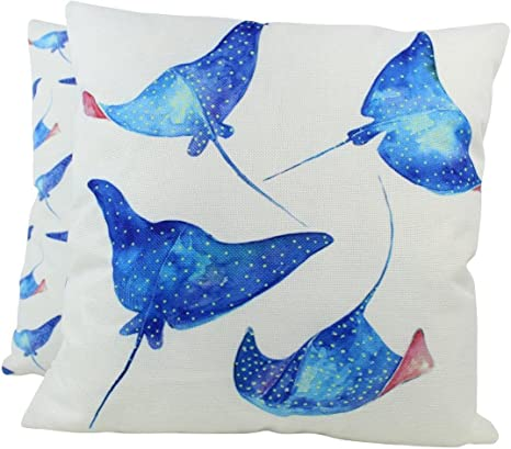 Amazon Com Uniikstuff Stingray Pillow Cover 18 X 18 Throw Pillow Home Decor Modern Coastal Decor Nautical Pillow Covers Sting Ray Under The Sea Home Kitchen