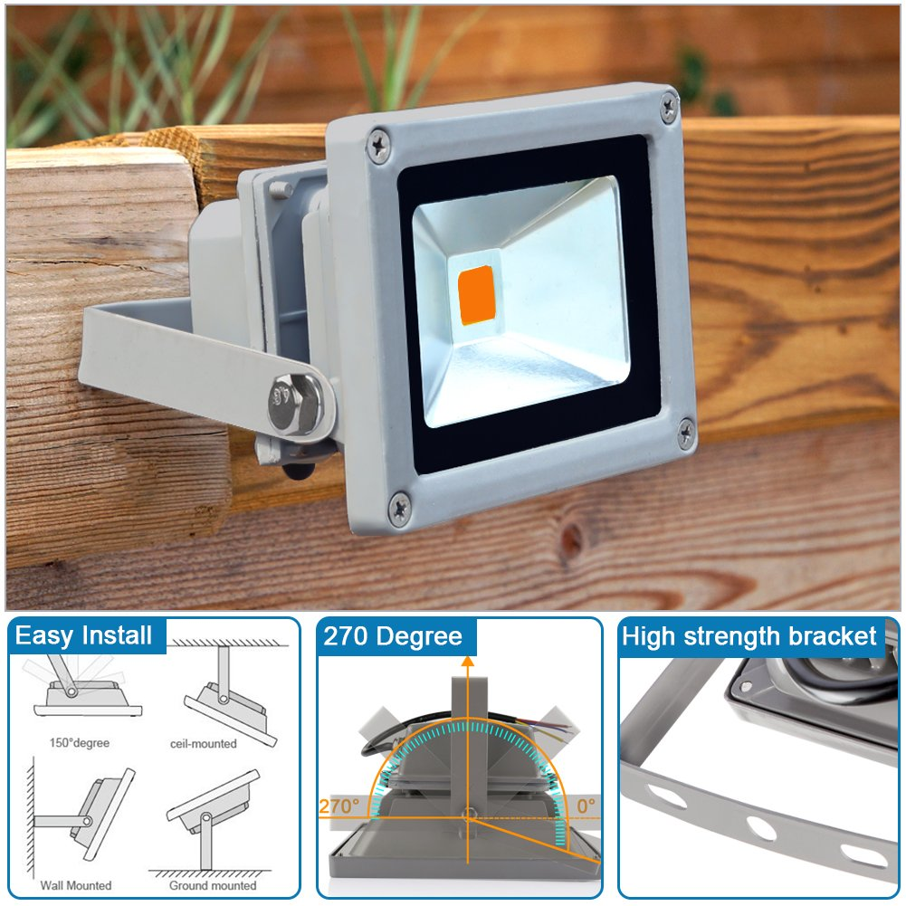 LEDMO 20W LED Flood Lights, Waterproof IP65 for outdoor, Warm White, 3000K, 1600lm, 100W Halogen Equivalent, Security Lights, Floodlight