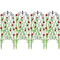 Amagabeli 4 Pack Garden Trellis for Climbing Plants 47″ x 16″ Rustproof Sturdy Black Iron Trellis for Potted Plants Support Lattice Metal Trellises for Climbing Rose Vine Flower Cucumber Clematis GT01
