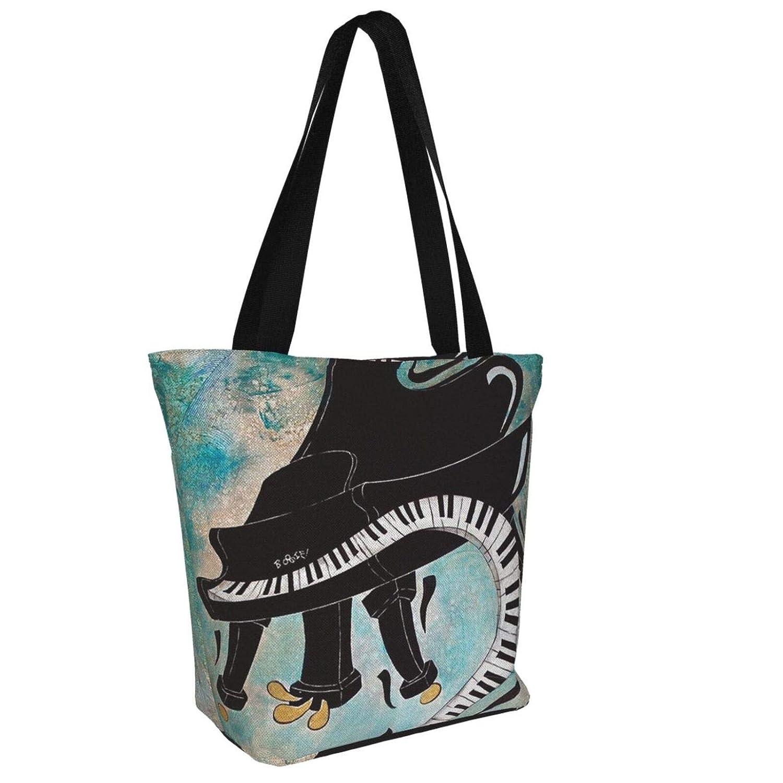 Vintage barberarstång flagga kvinnor stor storlek kanvas axelväska hobo crossbody handväska ledig bärkasse Cool Piano Music Keyboard Painting