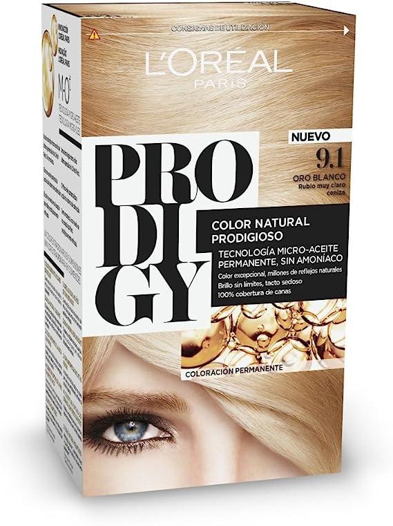 LOreal Paris Prodigy Coloración Permanente - Tinte, color 9.1-oro blanco 4 pz, 200 gr
