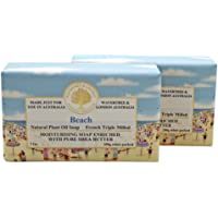 Wavertree & London Beach (2 Bars), 7oz Moisturizing Natural Soap Bar, French -Milled and enriched with Shea Butter