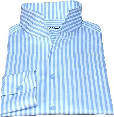 WhitePilotShirts - Cuello alto abierto para hombre, rayas ...