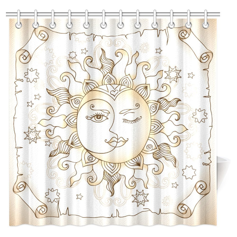 INTERESTPRINT Sun And Moon Shower Curtain Vintage Magic Spiritual Celestial Theme With Crescent Midnight Art Fabric Bathroom Set