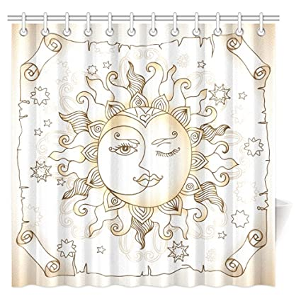 InterestPrint Sun And Moon Shower Curtain Vintage Magic Spiritual Celestial Theme With Crescent